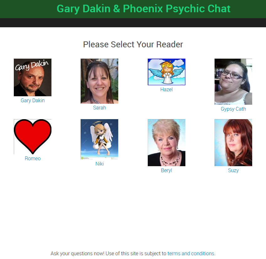 Please Choose Your Psychic Reader And Click To Connect Live!